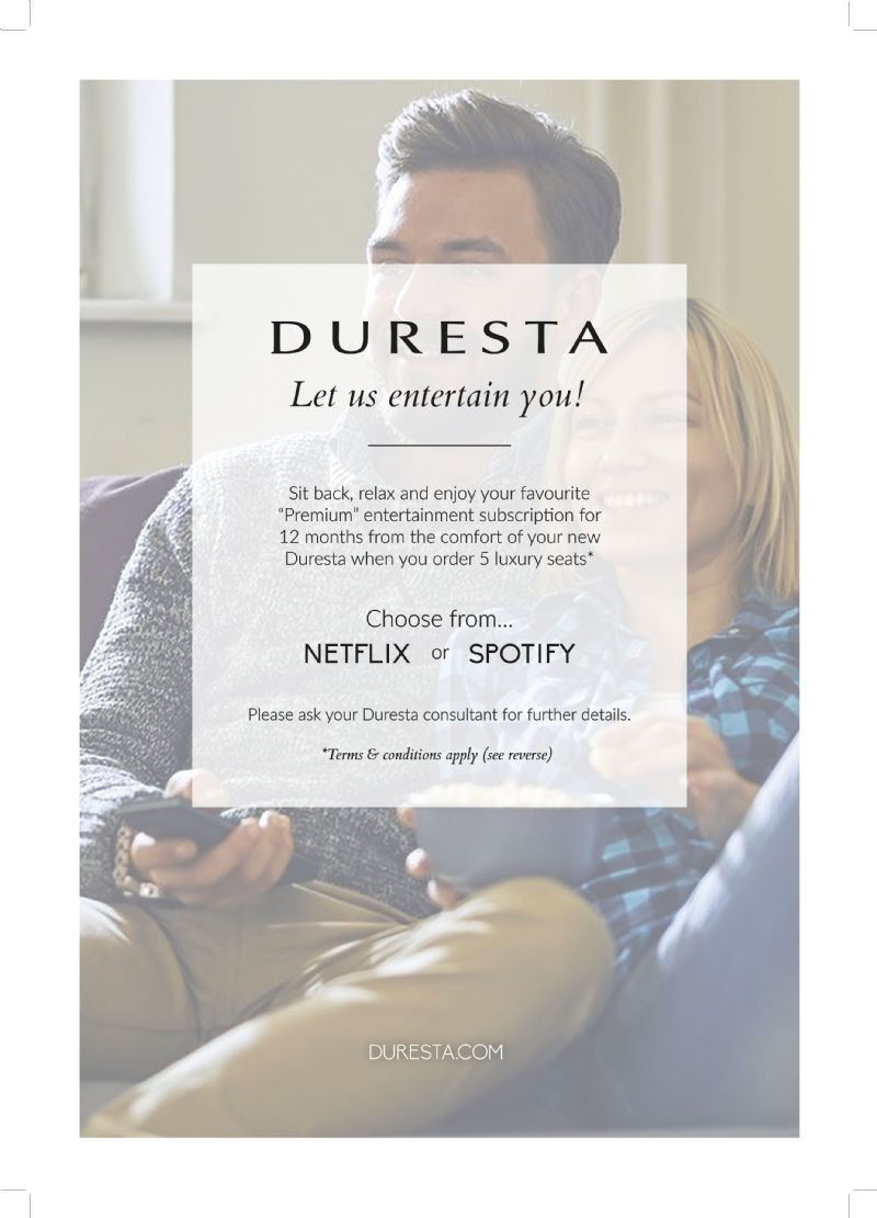 Special Duresta Offer | 12 months subscription to Netflix or