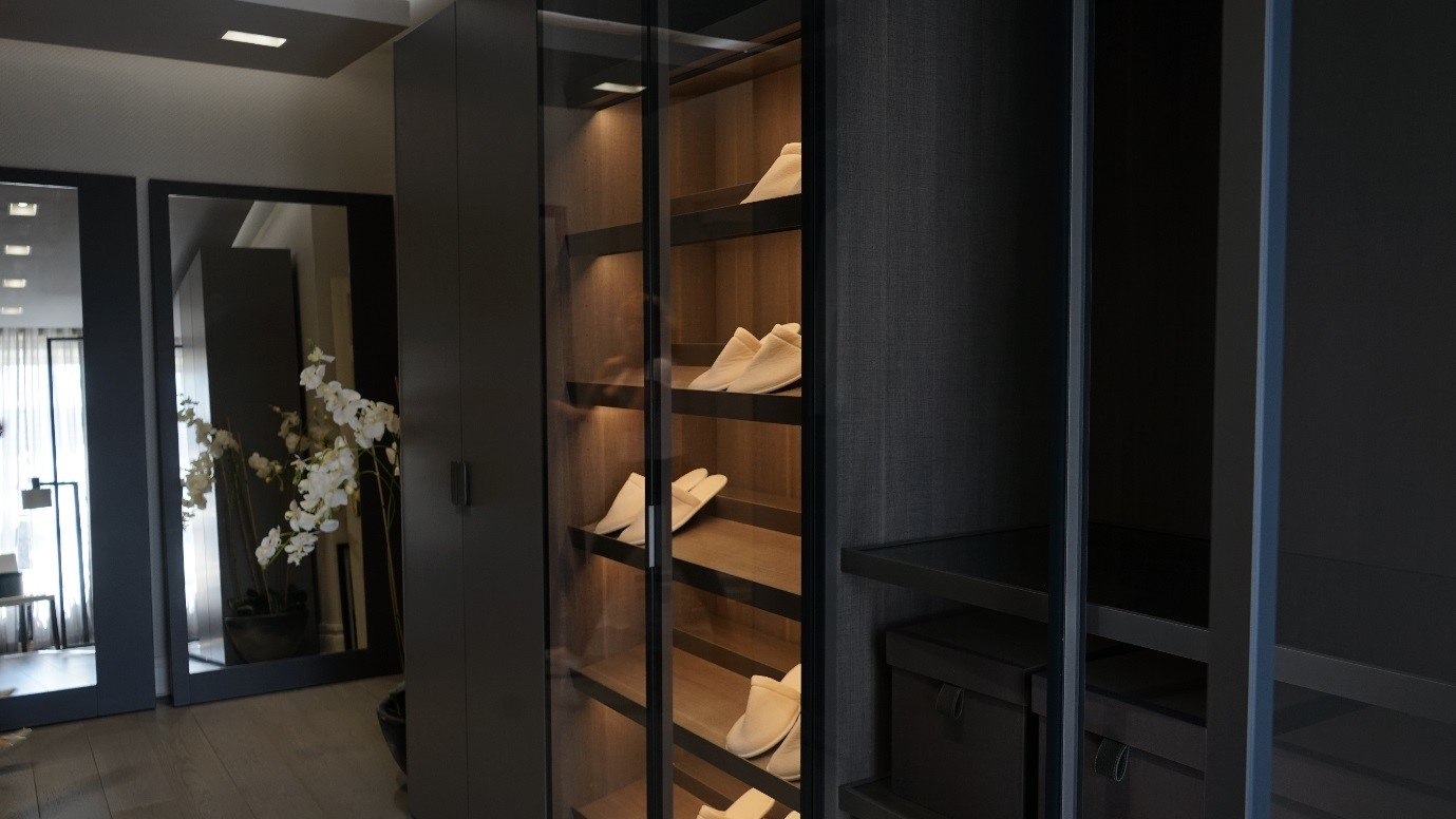 Poliform Wardrobe showroom display at Beaufort Interiors Moira. Sliding doors all from the Poliform Collection. & The new POLIFORM Walk-In Closet at Beaufort Interiors