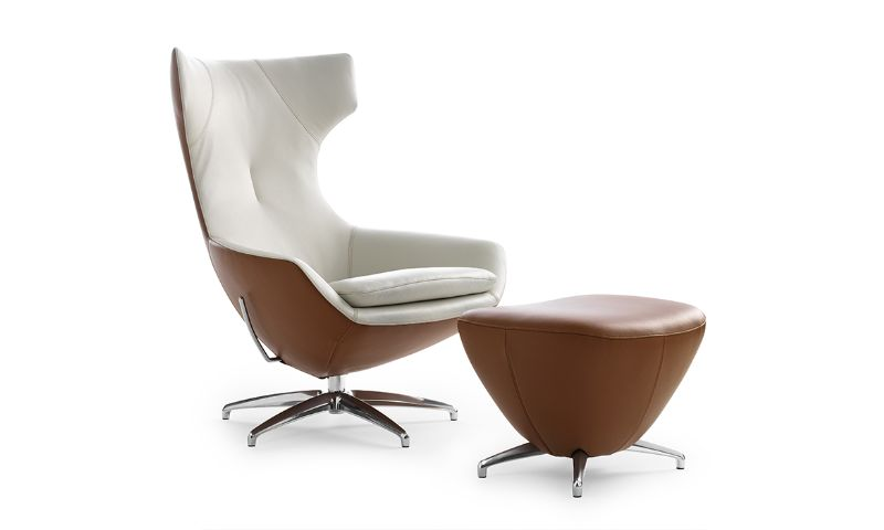 LeoLux Caruzzo chair and footstool